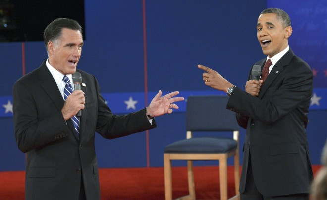 Presidential debate between Democrat and US President Barack Obama and Republican Mitt Romney